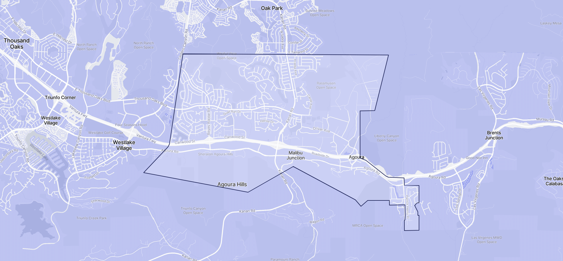 Image of Agoura Hills boundaries on a map.