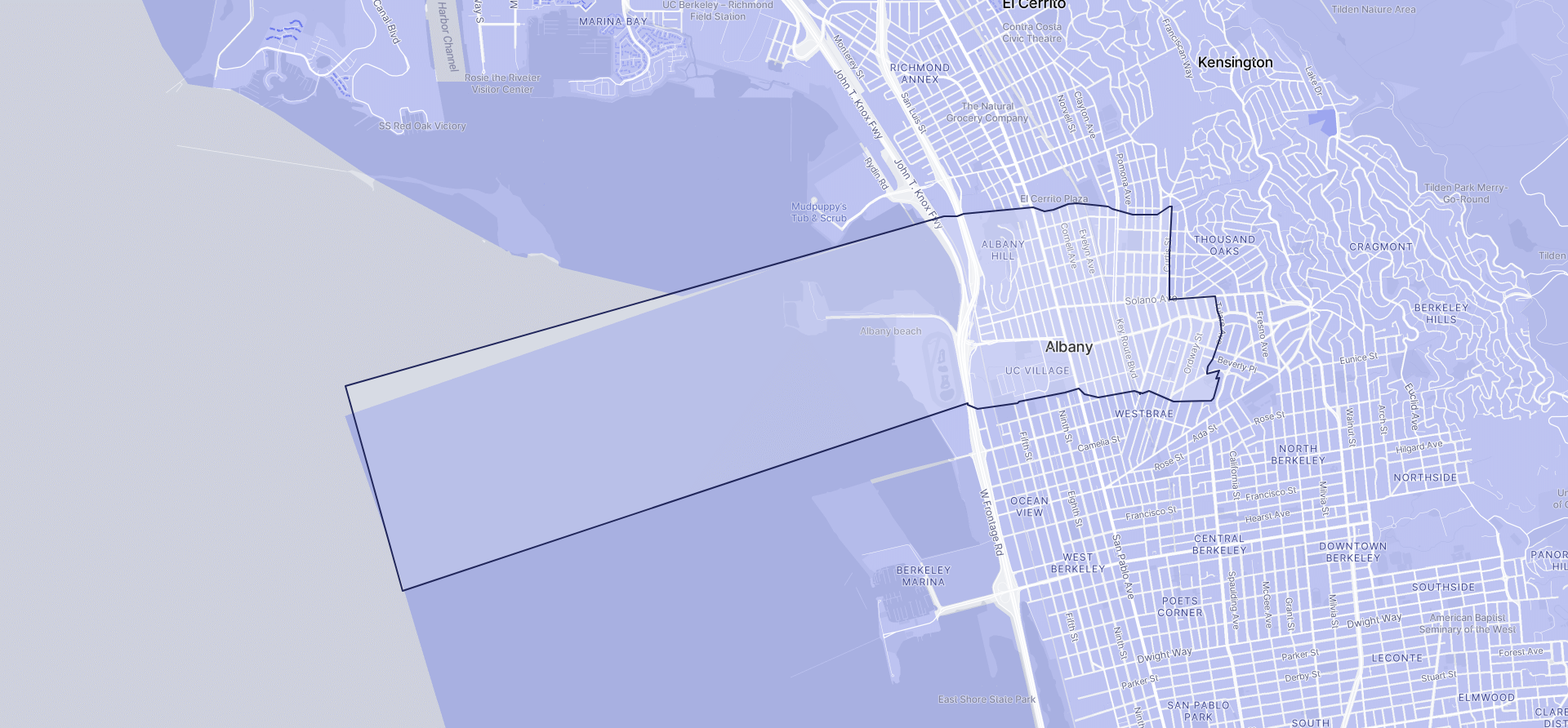 Image of Albany boundaries on a map.