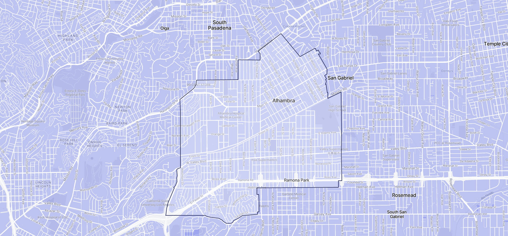 Image of Alhambra boundaries on a map.