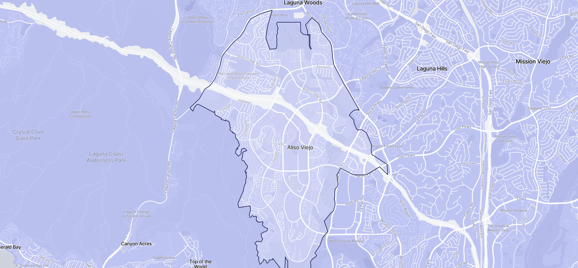 Image of Aliso Viejo boundaries on a map.