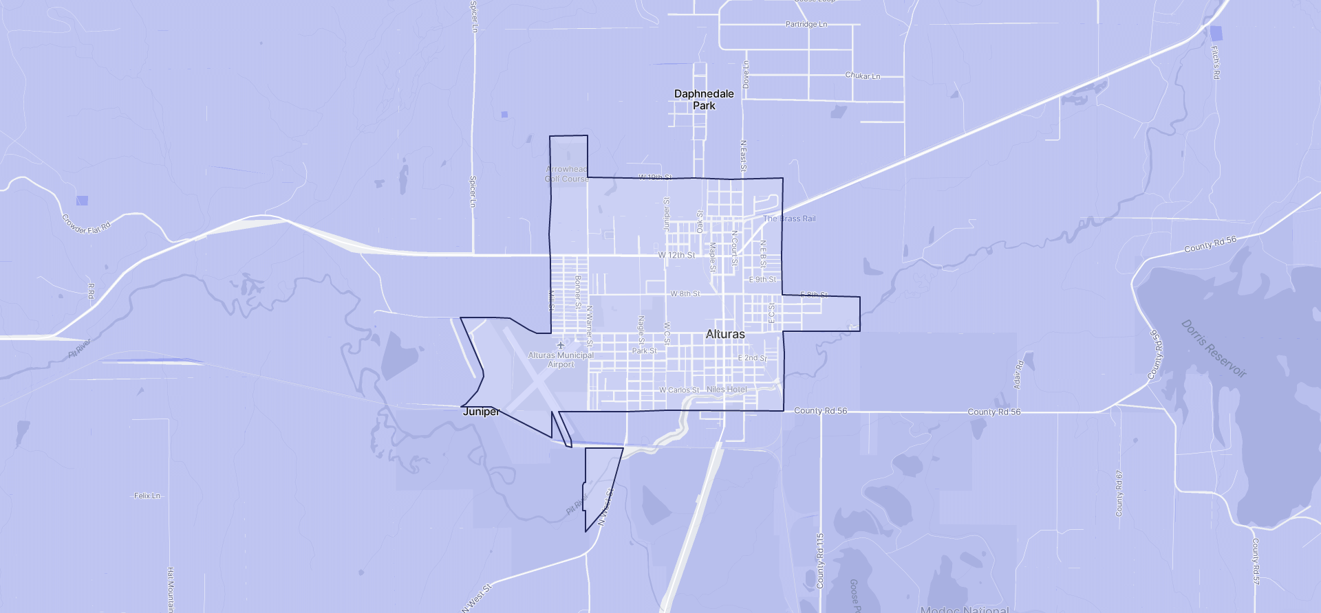 Image of Alturas boundaries on a map.