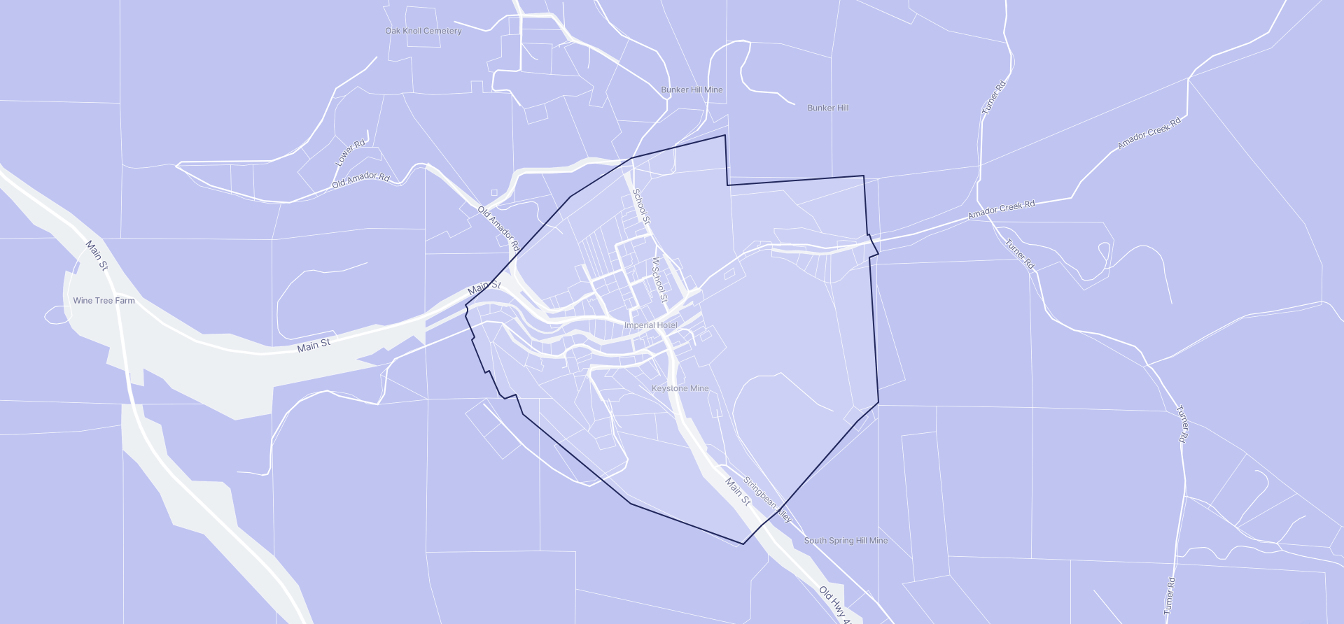 Image of Amador City boundaries on a map.