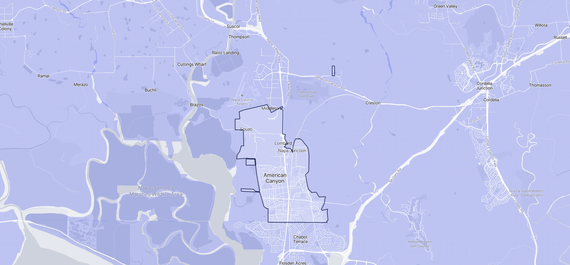 Image of American Canyon boundaries on a map.