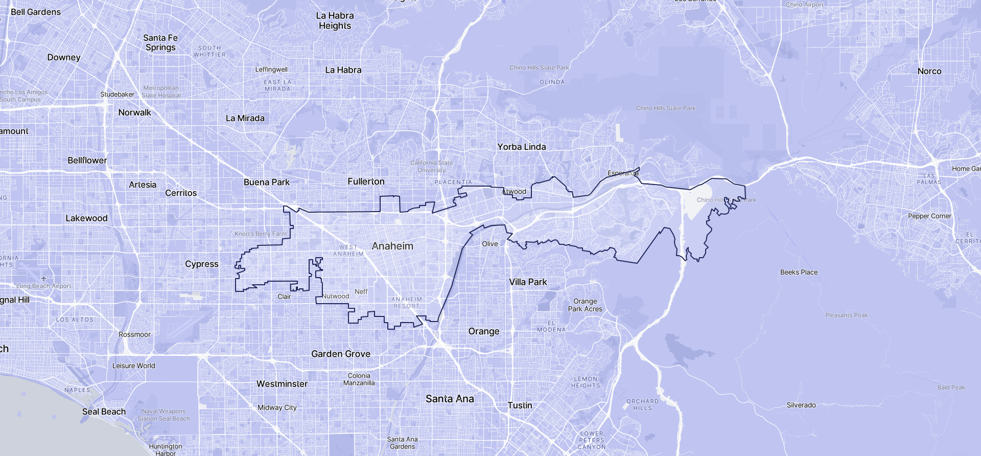 Image of Anaheim boundaries on a map.