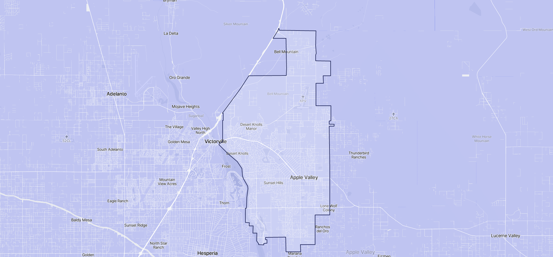 Image of Apple Valley boundaries on a map.