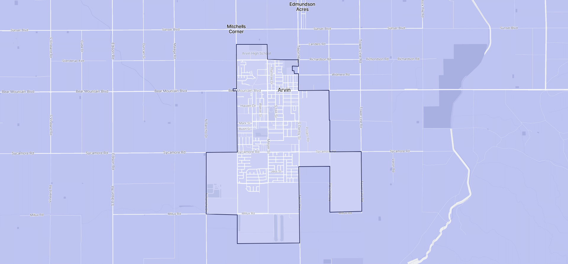 Image of Arvin boundaries on a map.