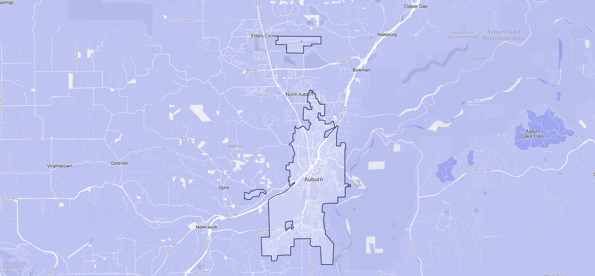 Image of Auburn boundaries on a map.