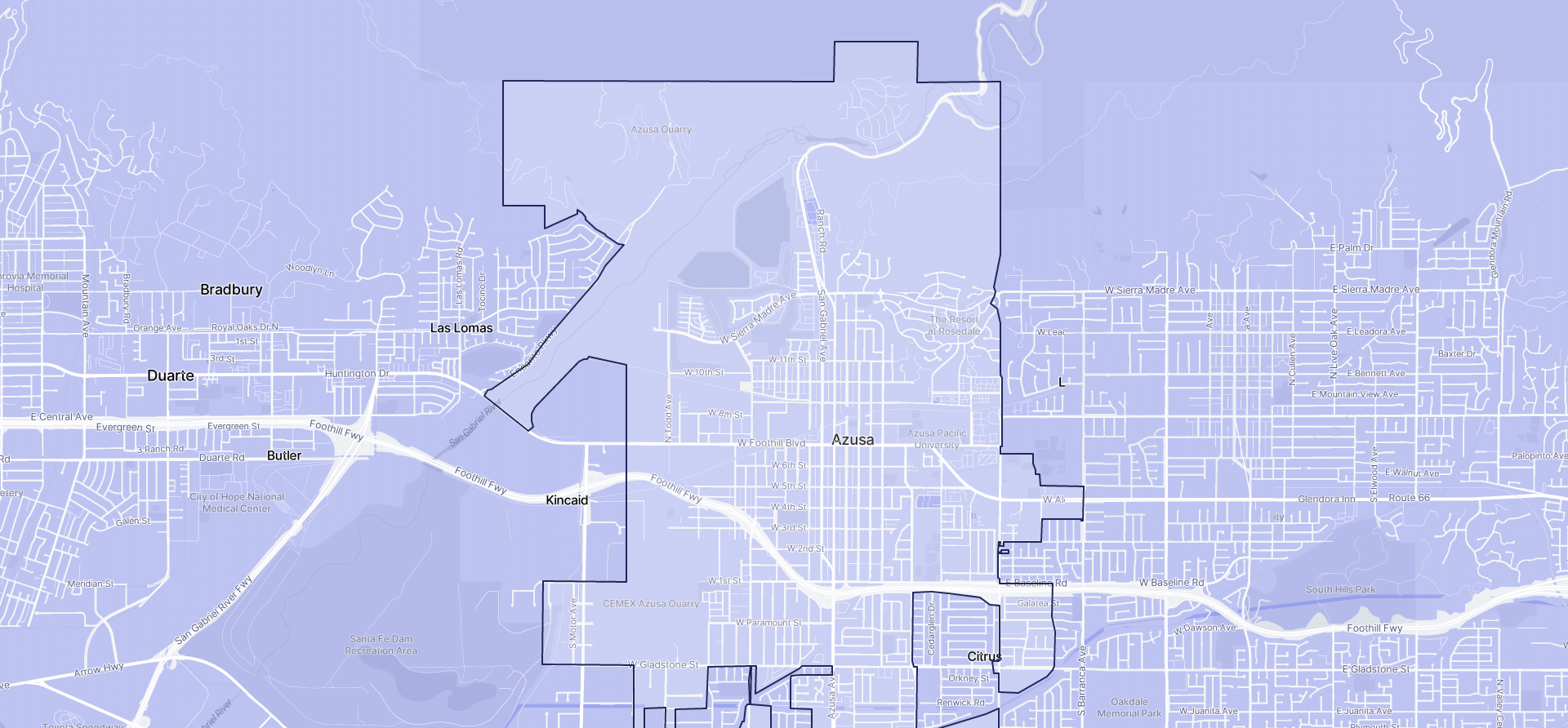 Image of Azusa boundaries on a map.