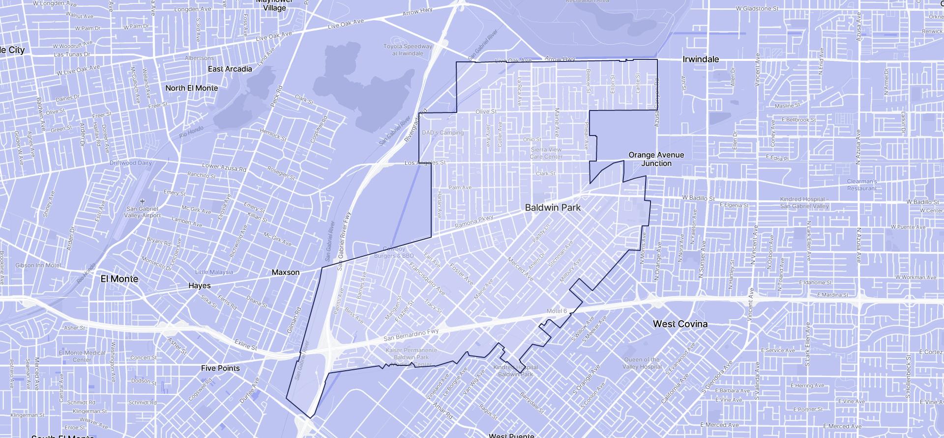 Image of Baldwin Park boundaries on a map.