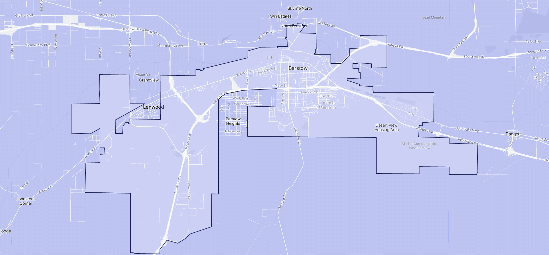Image of Barstow boundaries on a map.