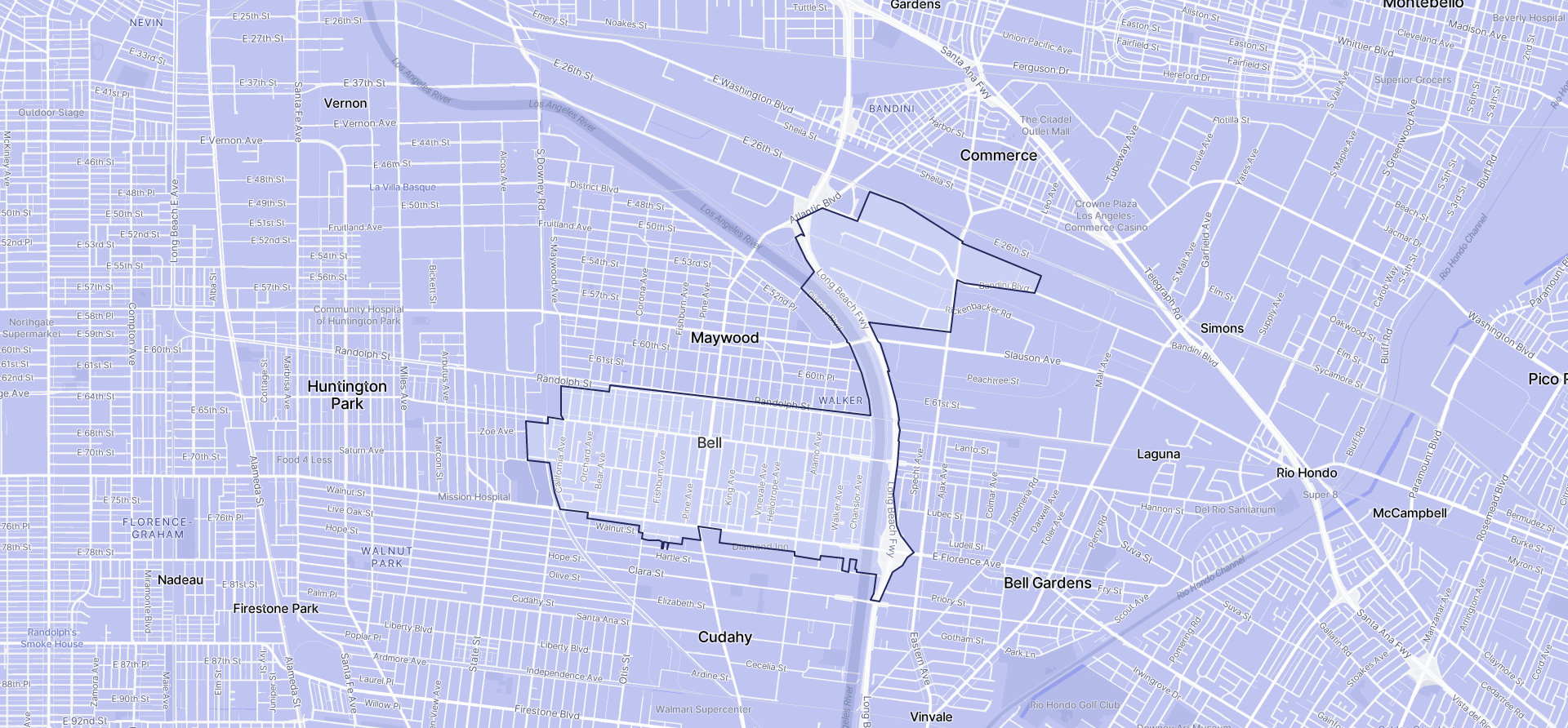 Image of Bell boundaries on a map.