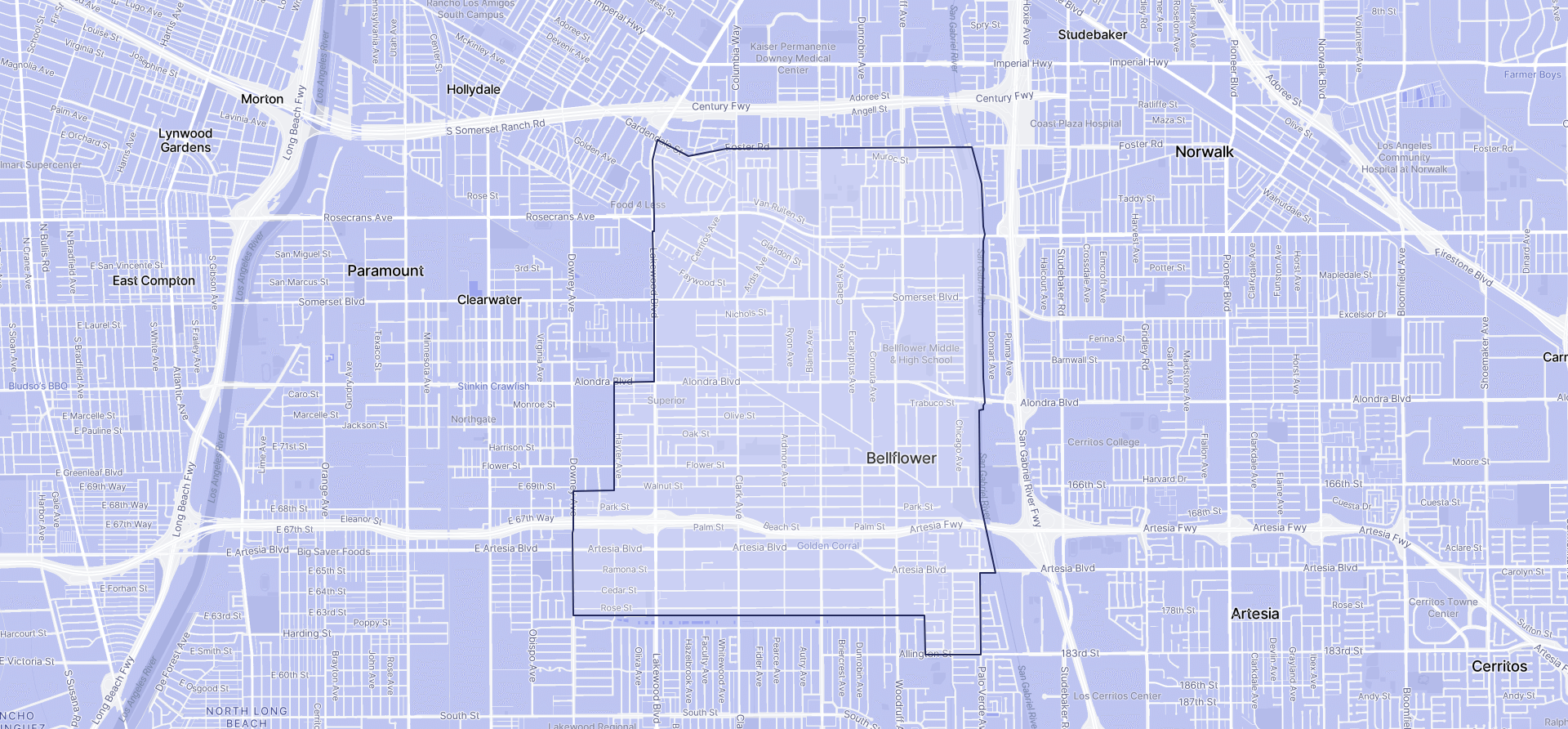 Image of Bellflower boundaries on a map.