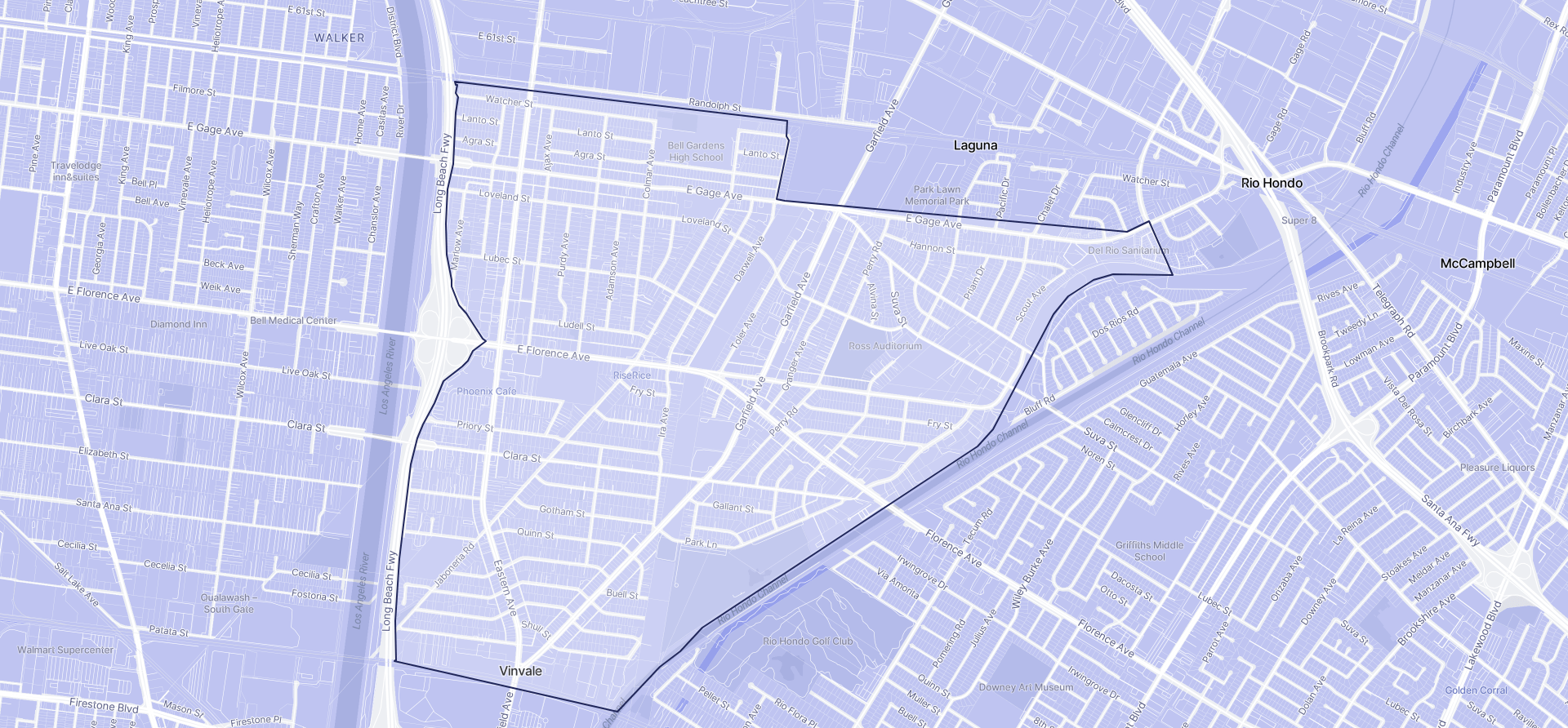 Image of Bell Gardens boundaries on a map.