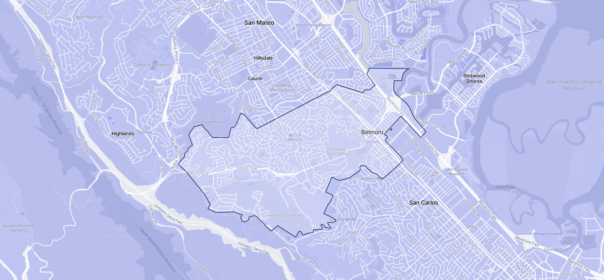 Image of Belmont boundaries on a map.
