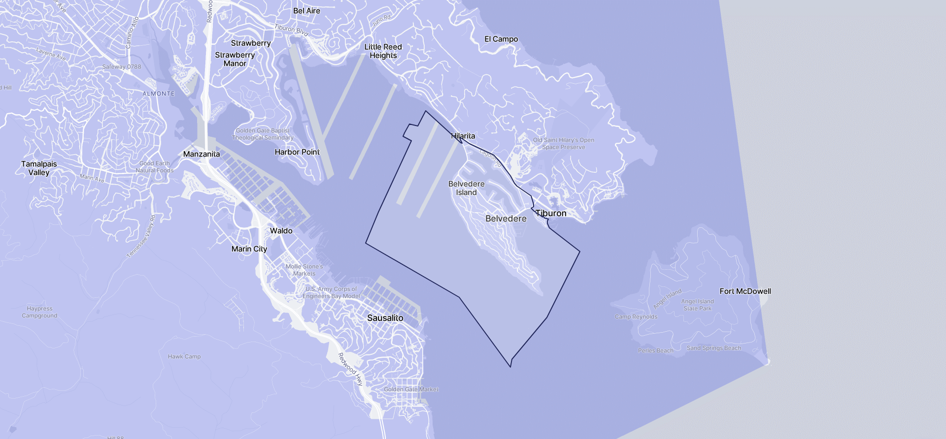 Image of Belvedere boundaries on a map.