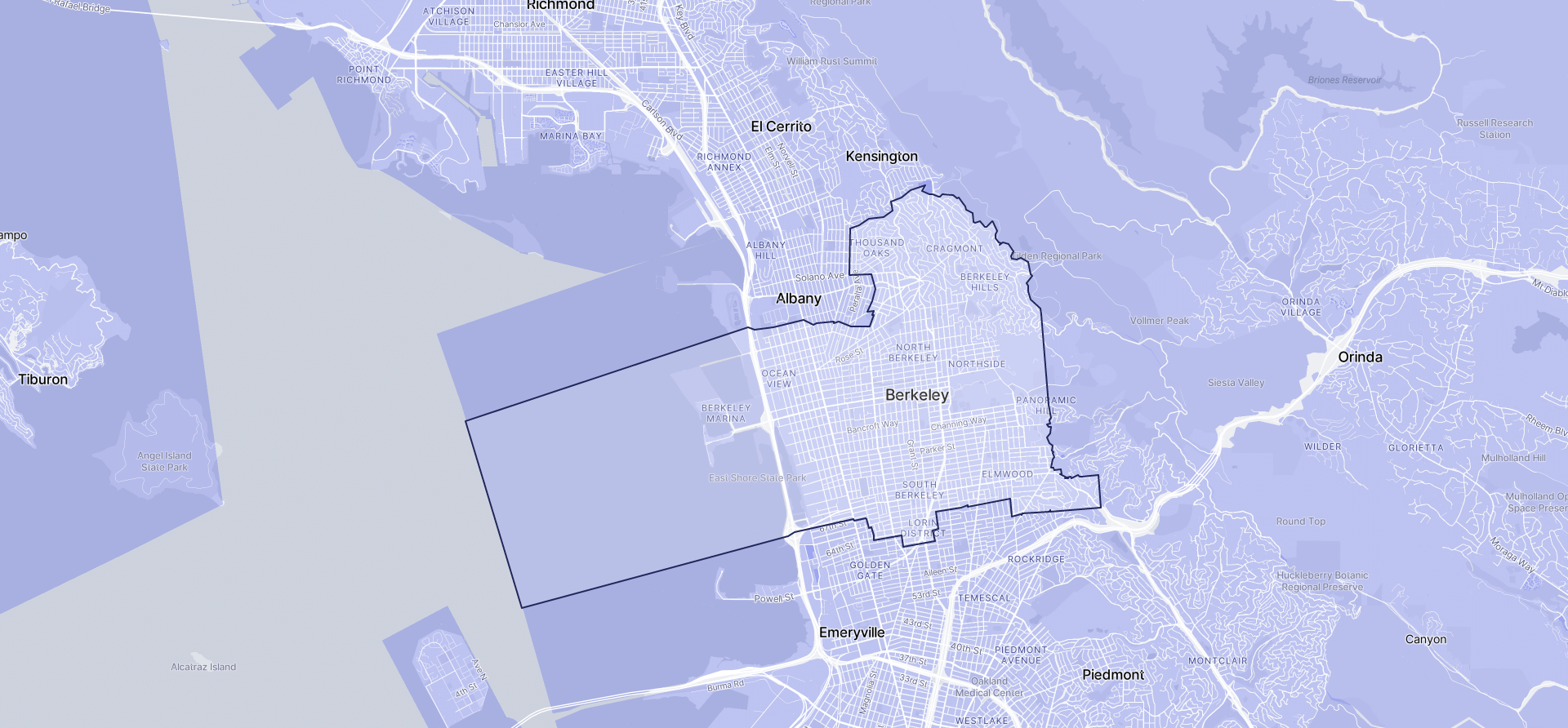 Image of Berkeley boundaries on a map.