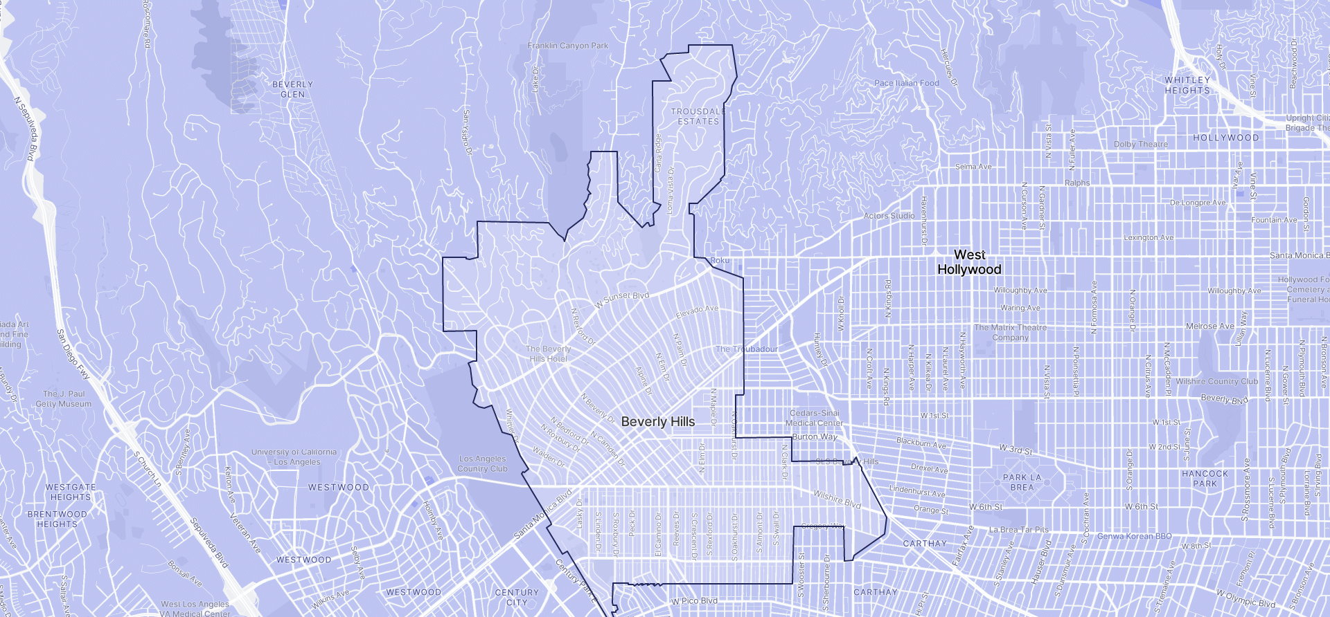 Image of Beverly Hills boundaries on a map.