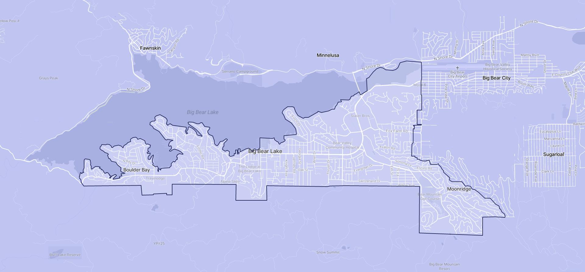 Image of Big Bear Lake boundaries on a map.