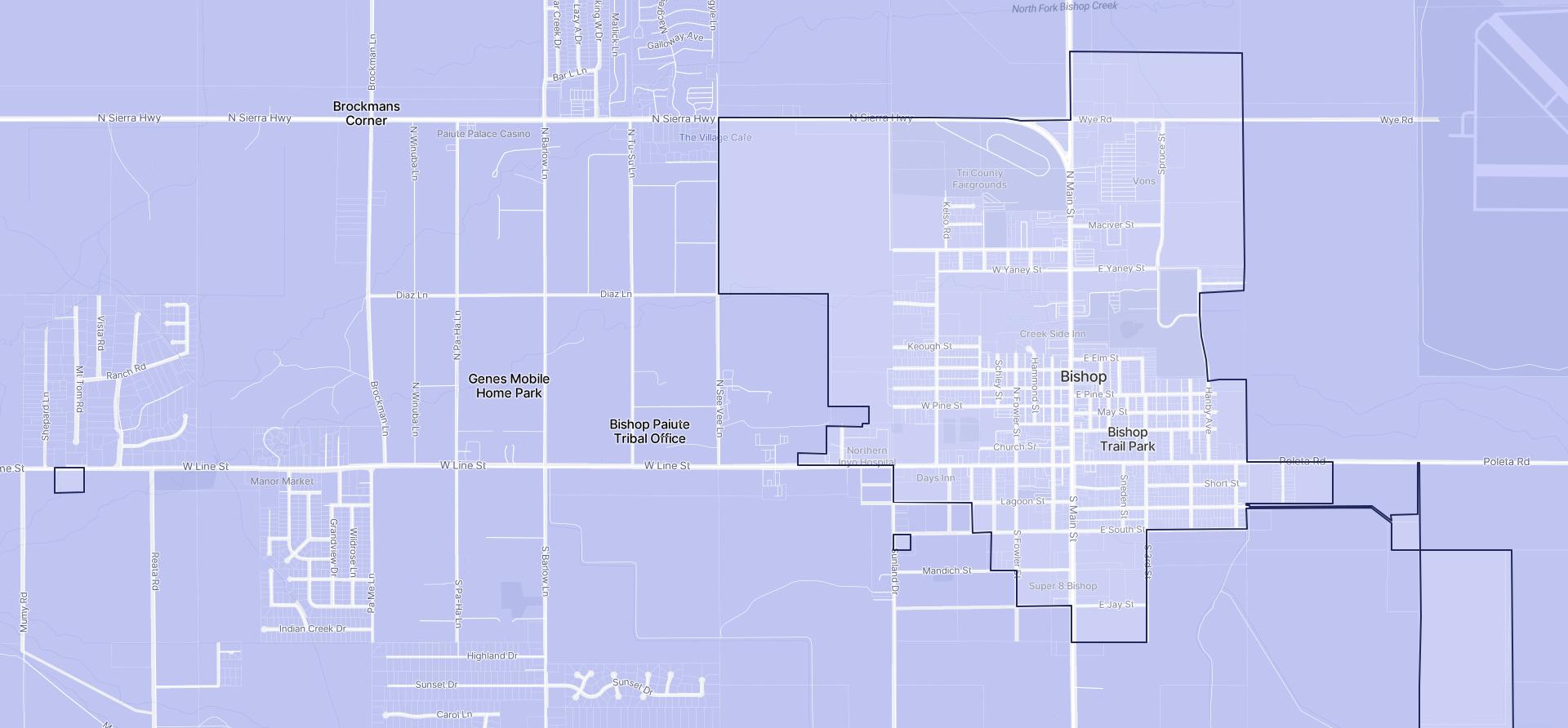 Image of Bishop boundaries on a map.