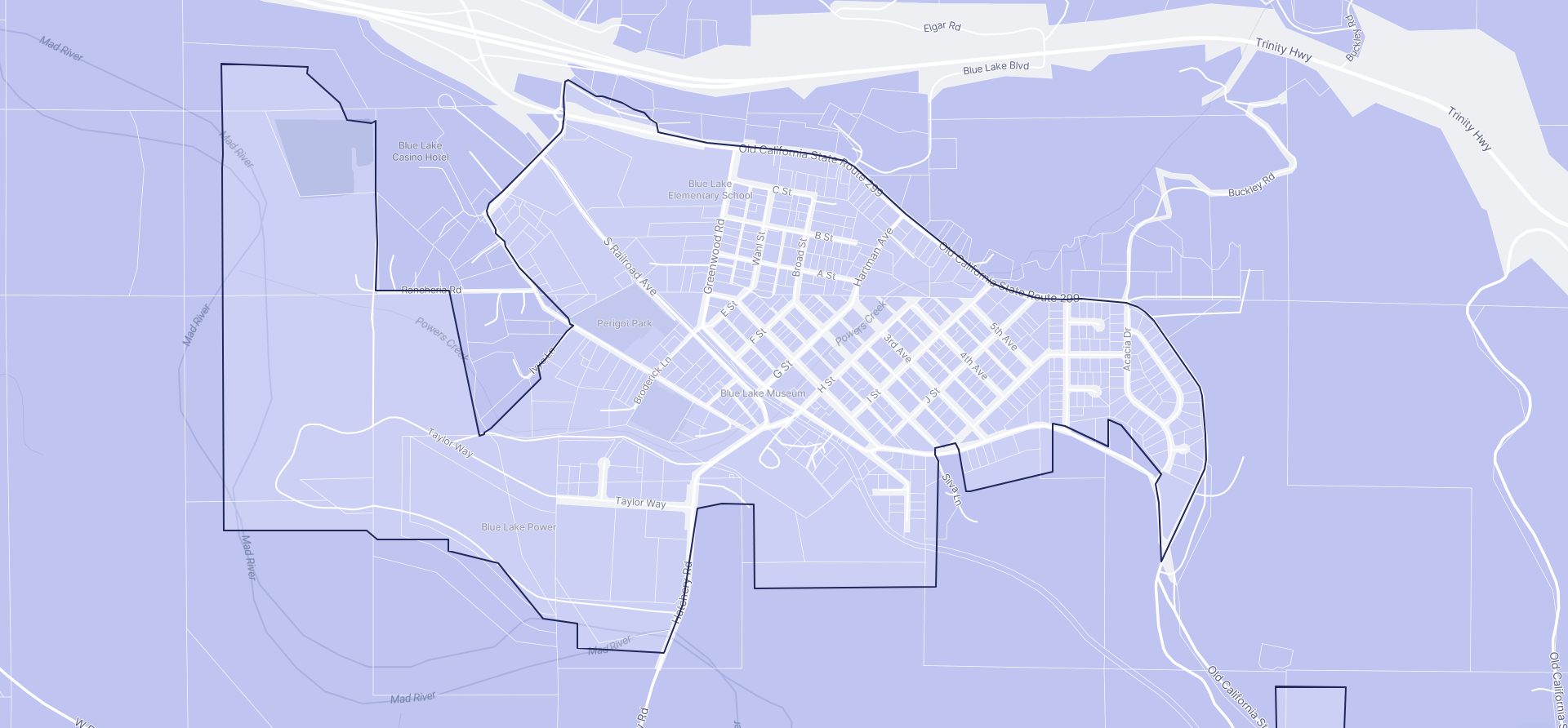 Image of Blue Lake boundaries on a map.