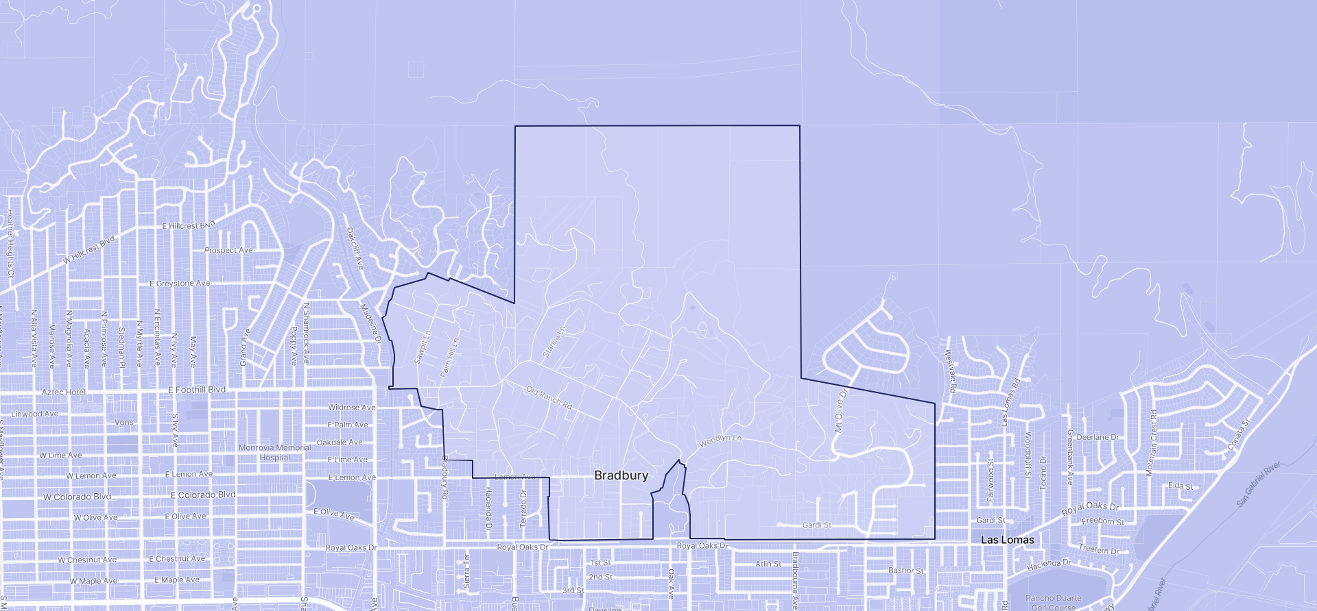 Image of Bradbury boundaries on a map.
