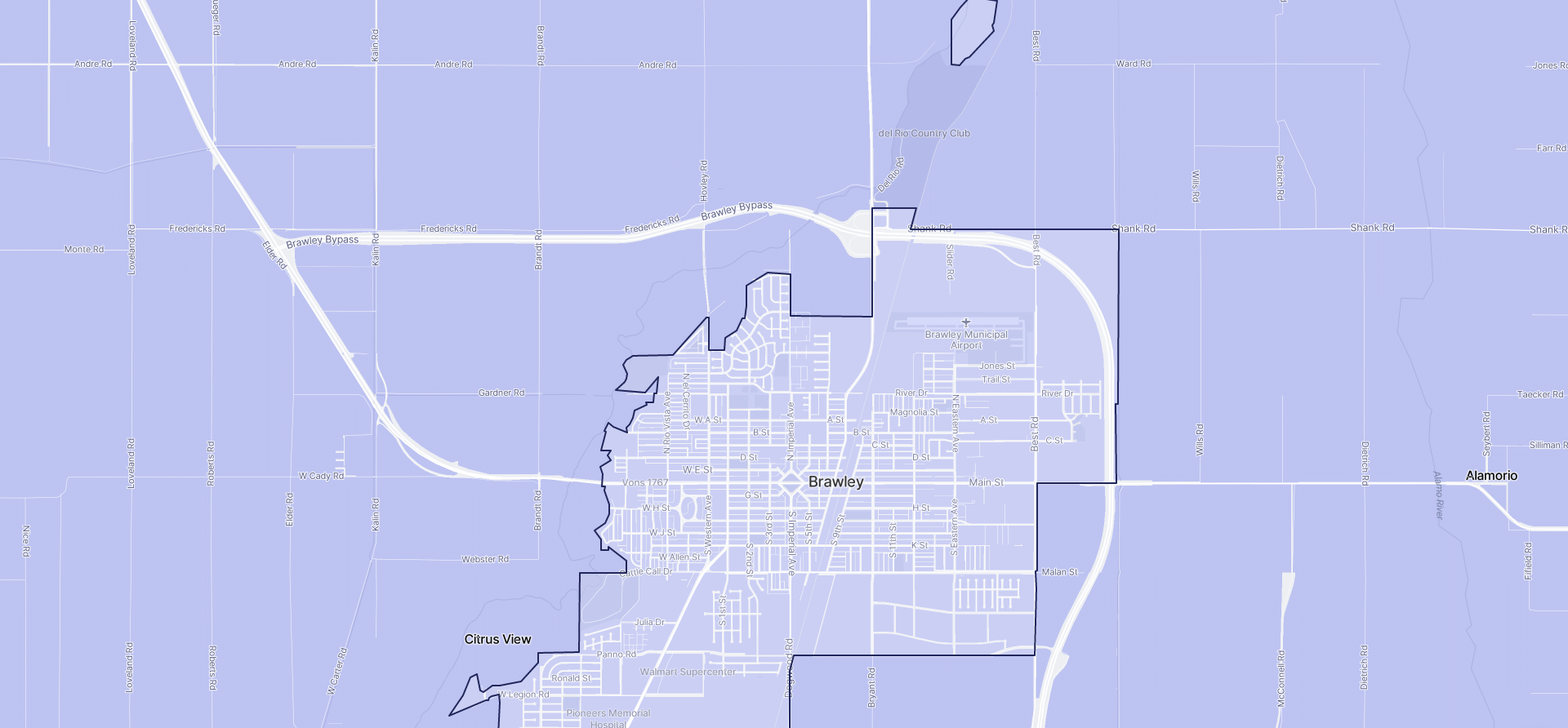 Image of Brawley boundaries on a map.