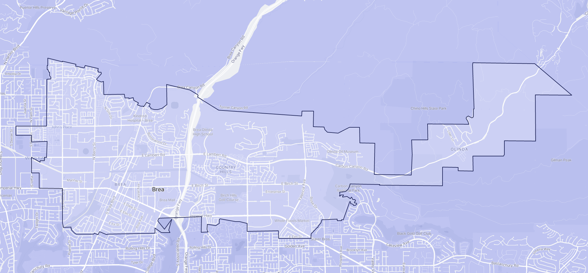 Image of Brea boundaries on a map.
