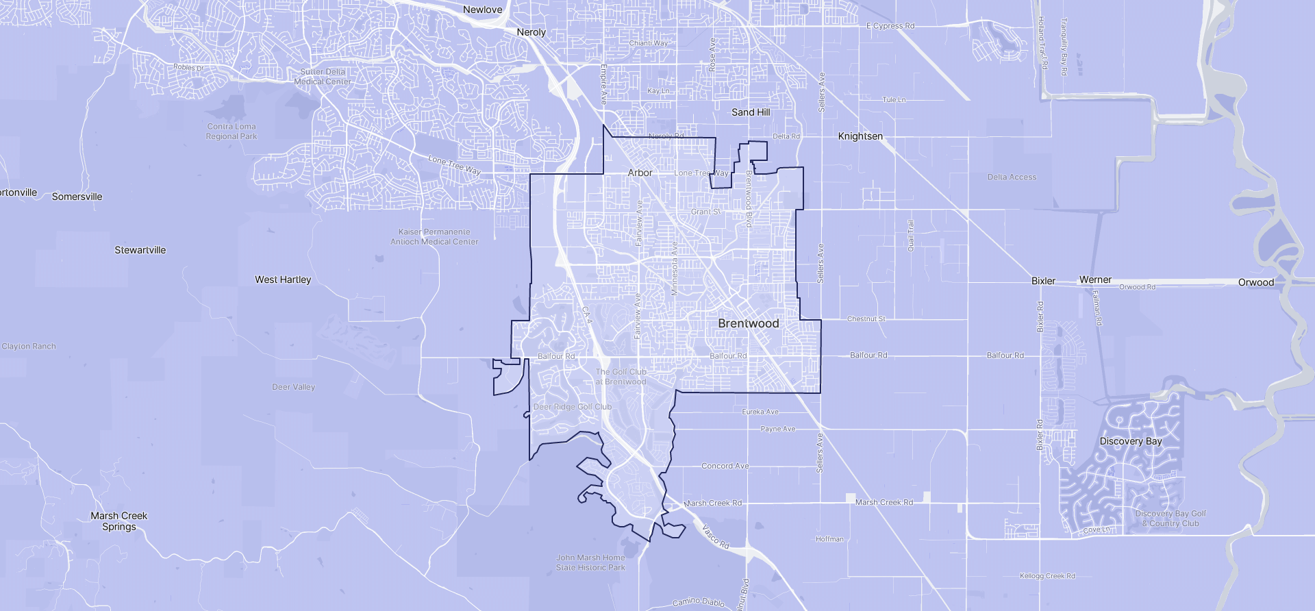 Image of Brentwood boundaries on a map.