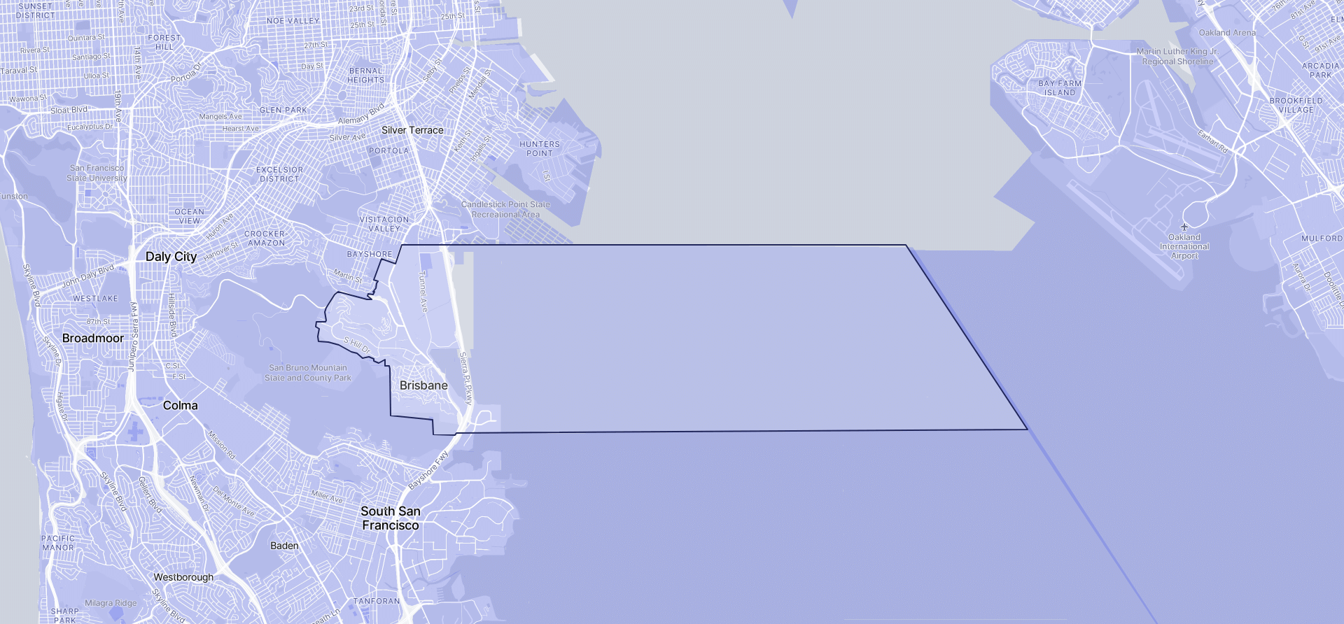Image of Brisbane boundaries on a map.
