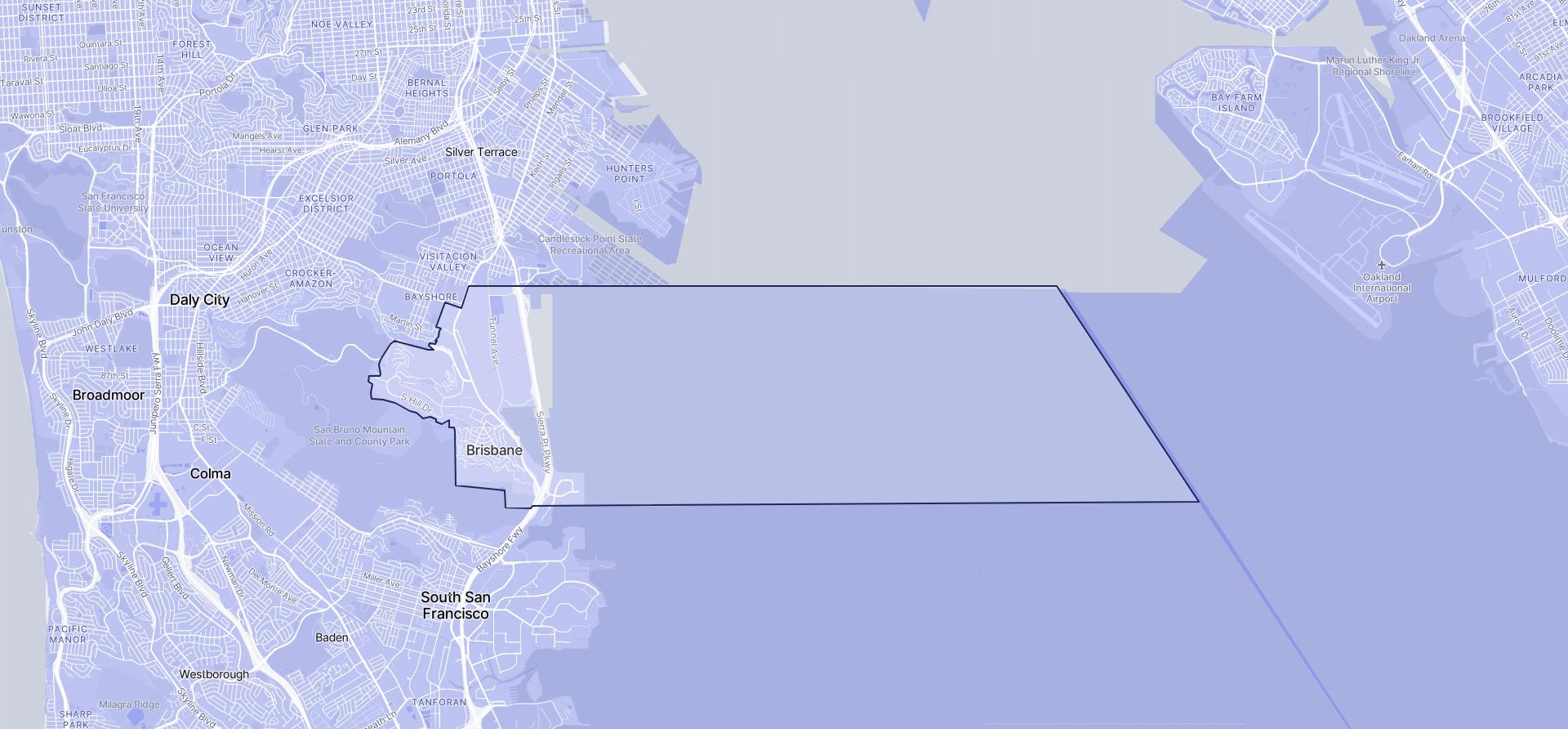 Image of Brisbane boundaries on a map.