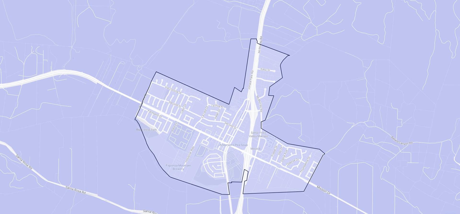 Image of Buellton boundaries on a map.