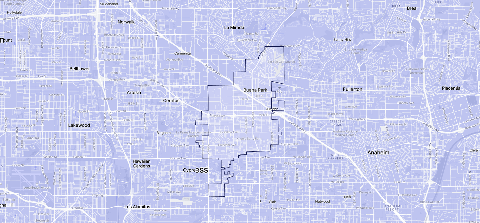 Image of Buena Park boundaries on a map.