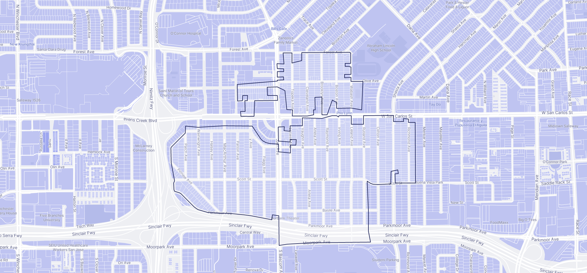 Image of Burbank boundaries on a map.