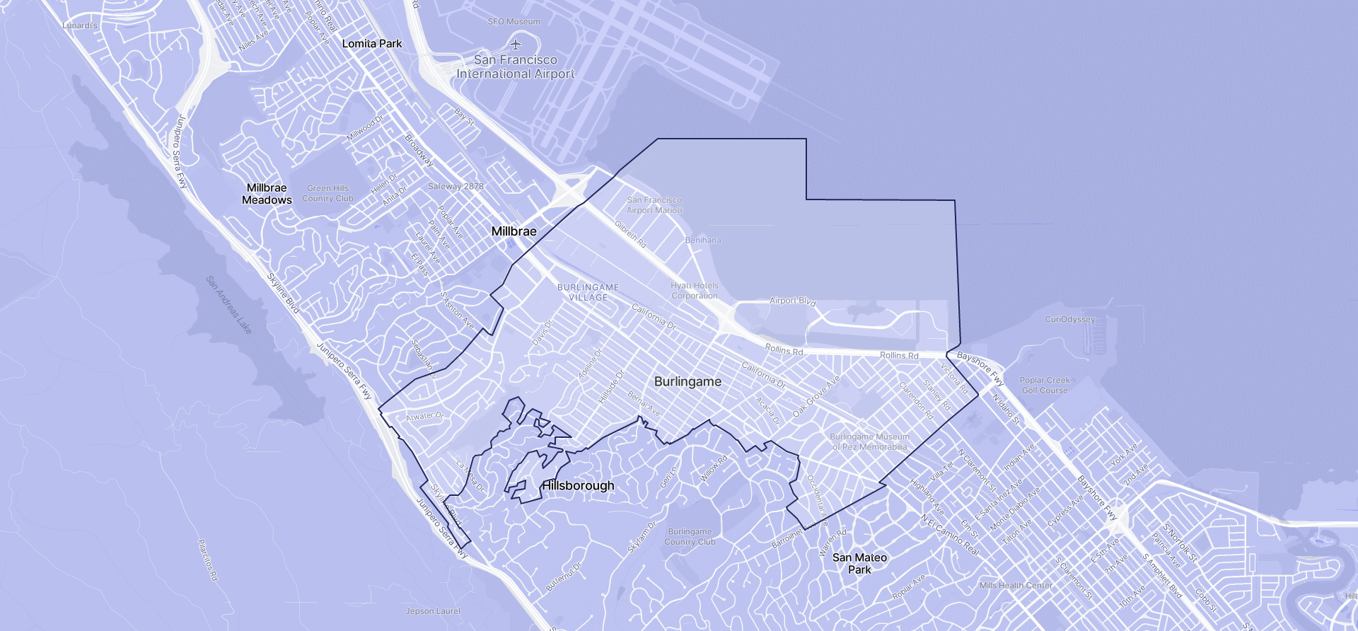 Image of Burlingame boundaries on a map.