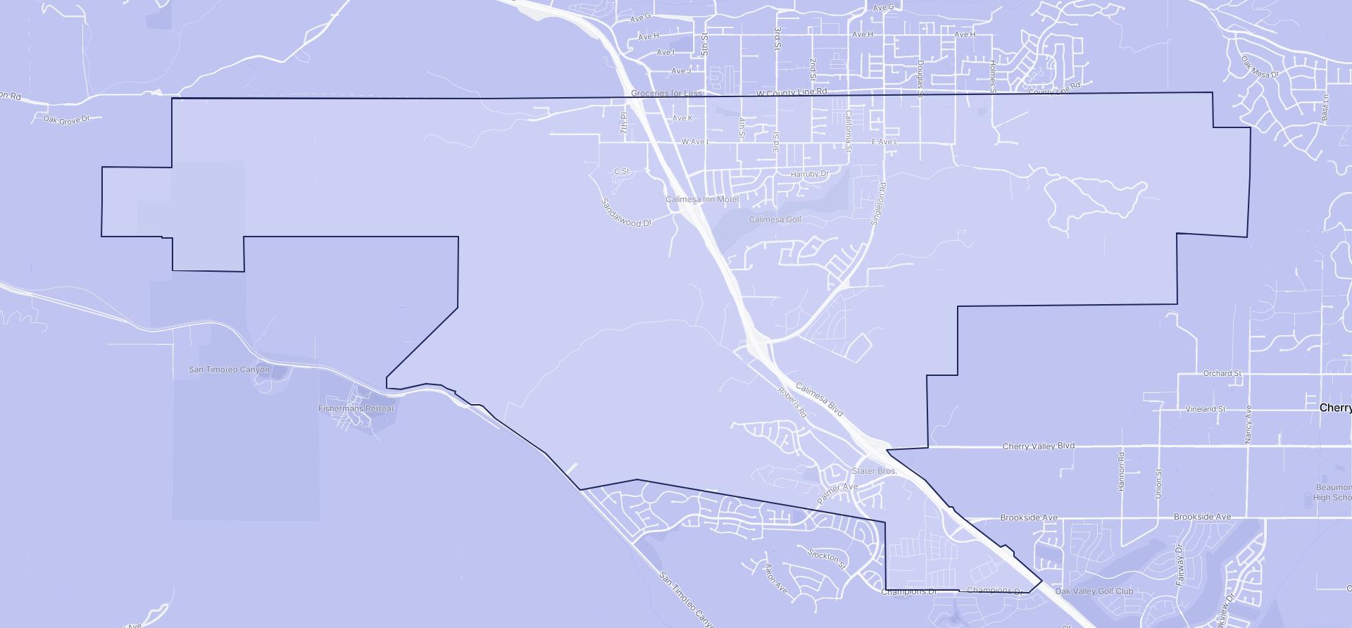 Image of Calimesa boundaries on a map.