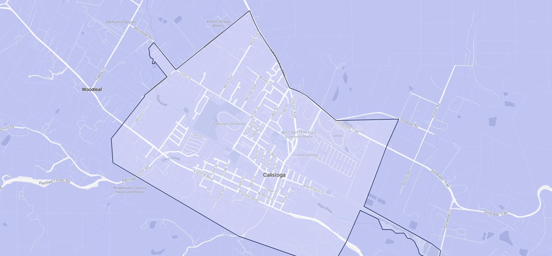 Image of Calistoga boundaries on a map.