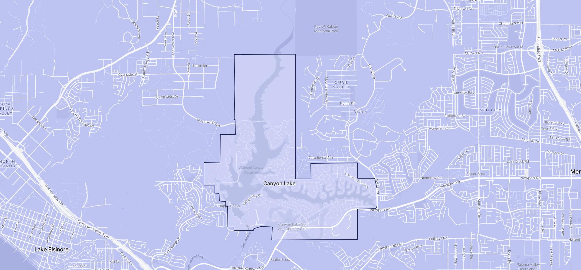 Image of Canyon Lake boundaries on a map.
