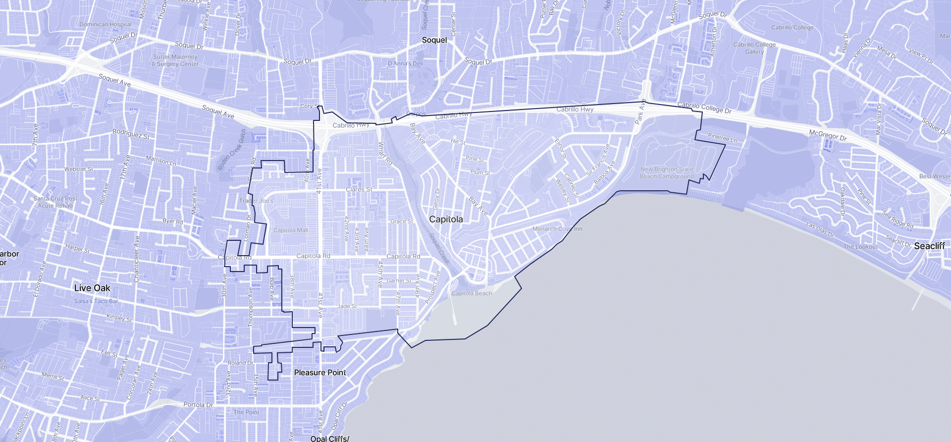 Image of Capitola boundaries on a map.