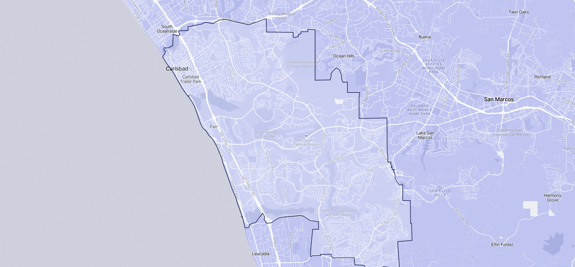 Image of Carlsbad boundaries on a map.