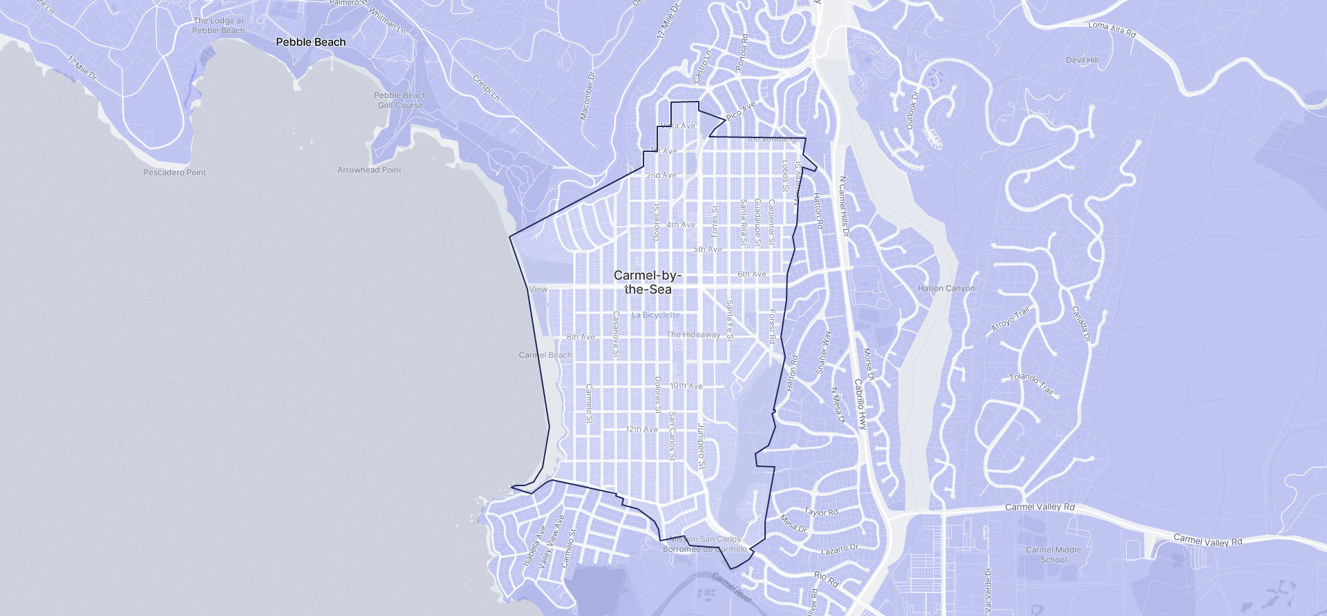 Image of Carmel-by-the-Sea boundaries on a map.