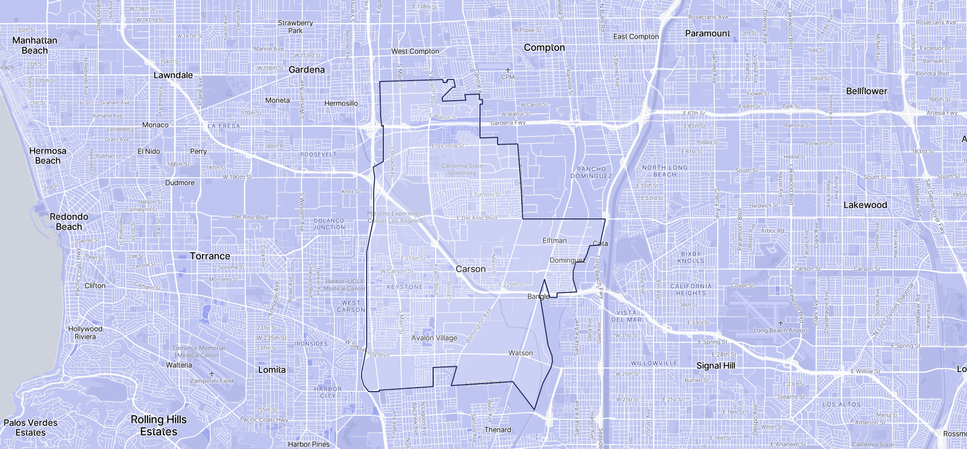 Image of Carson boundaries on a map.