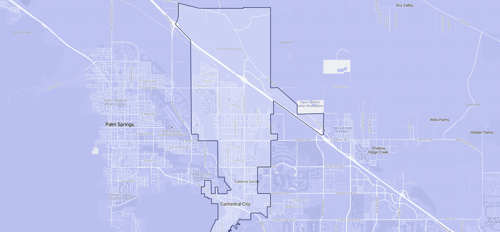 Image of Cathedral City boundaries on a map.
