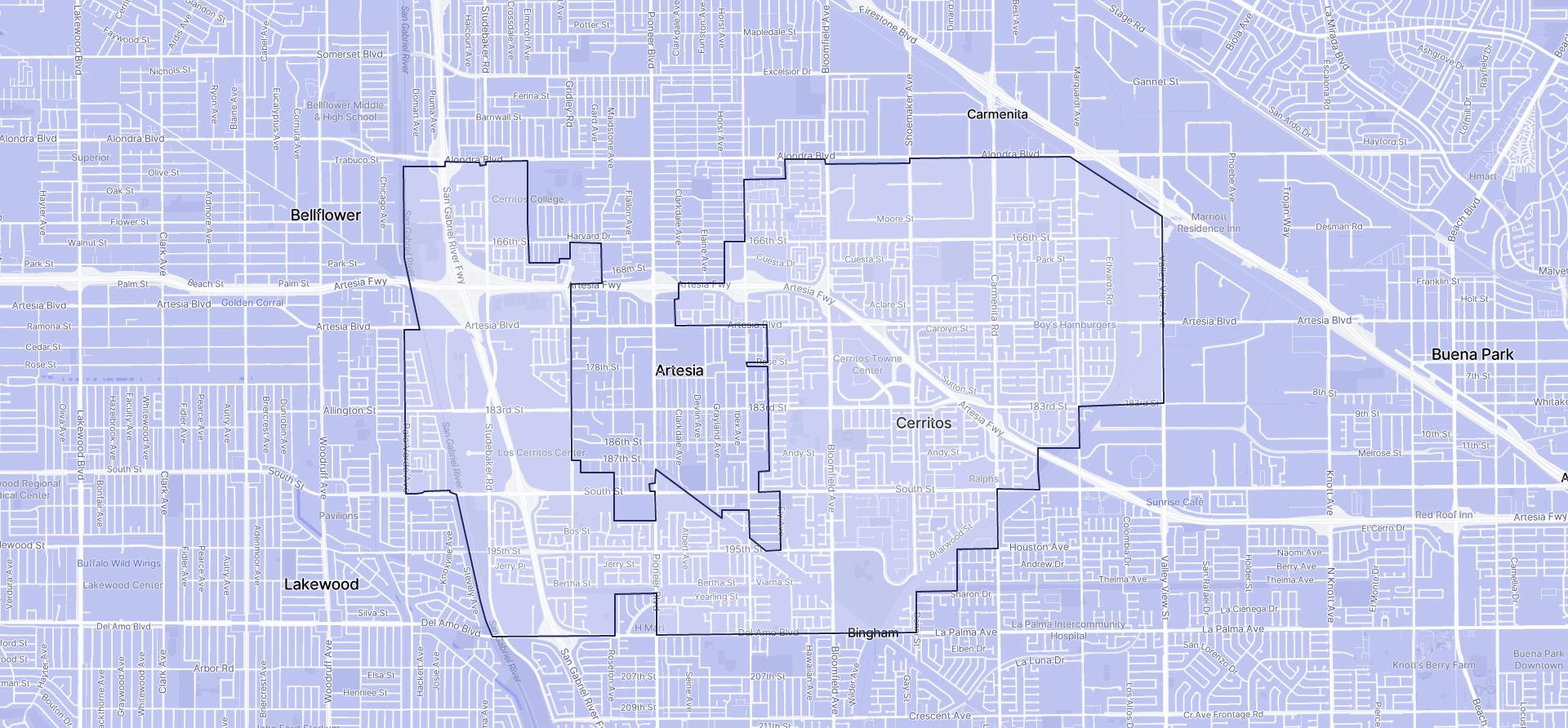 Image of Cerritos boundaries on a map.