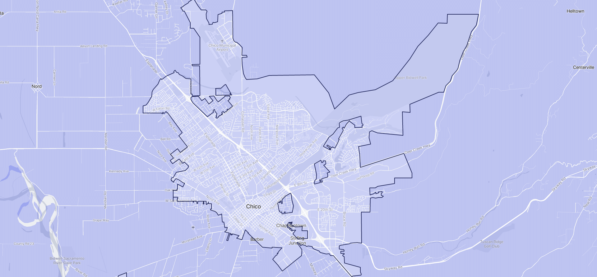 Image of Chico boundaries on a map.