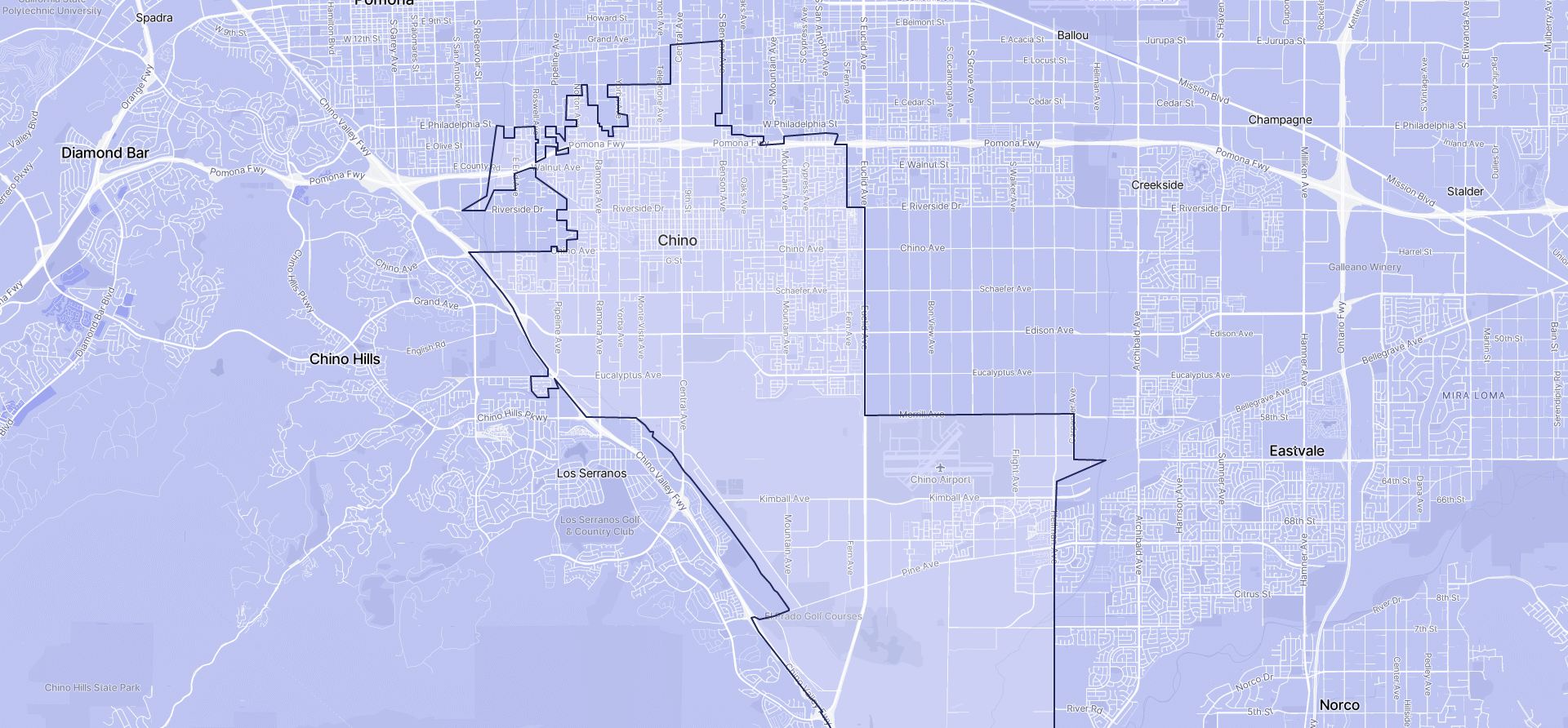 Image of Chino boundaries on a map.