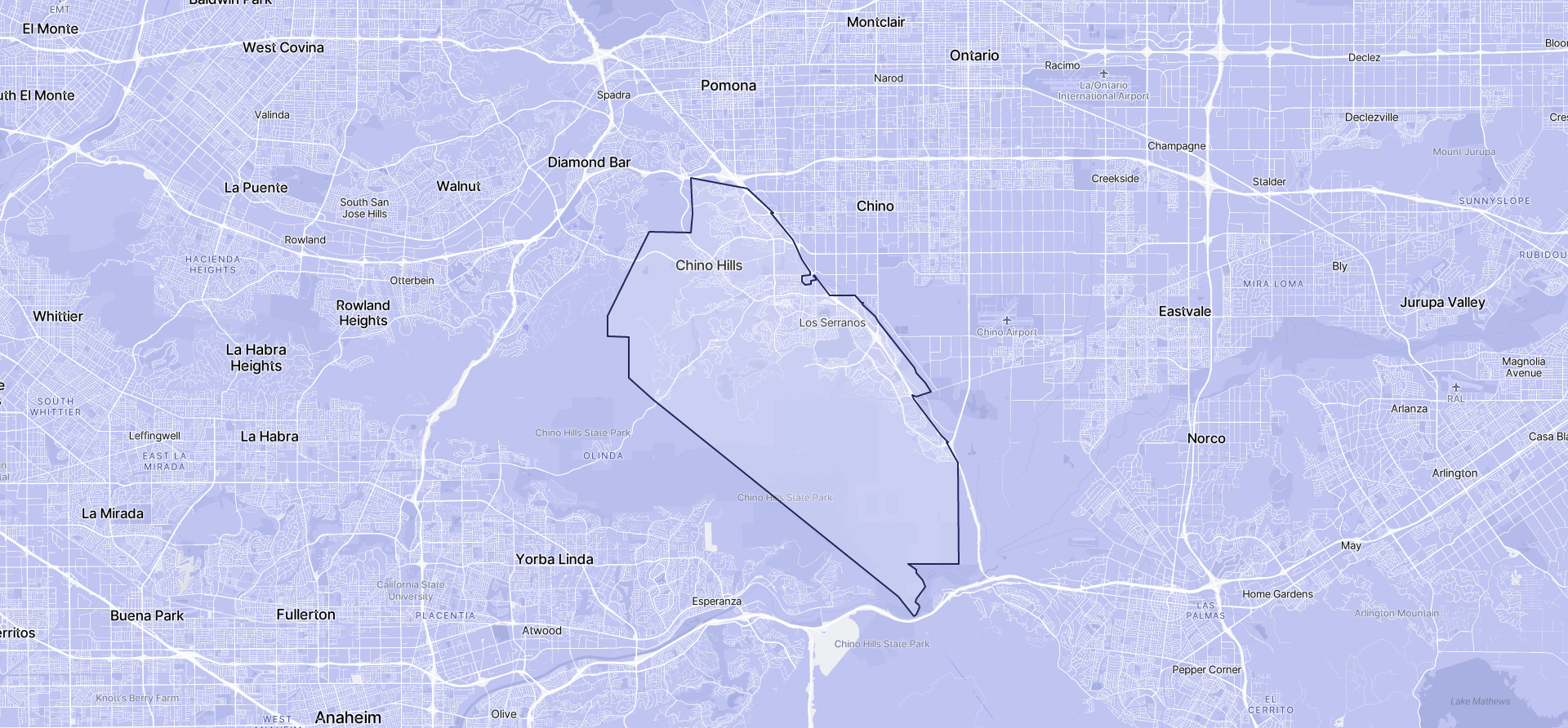 Image of Chino Hills boundaries on a map.