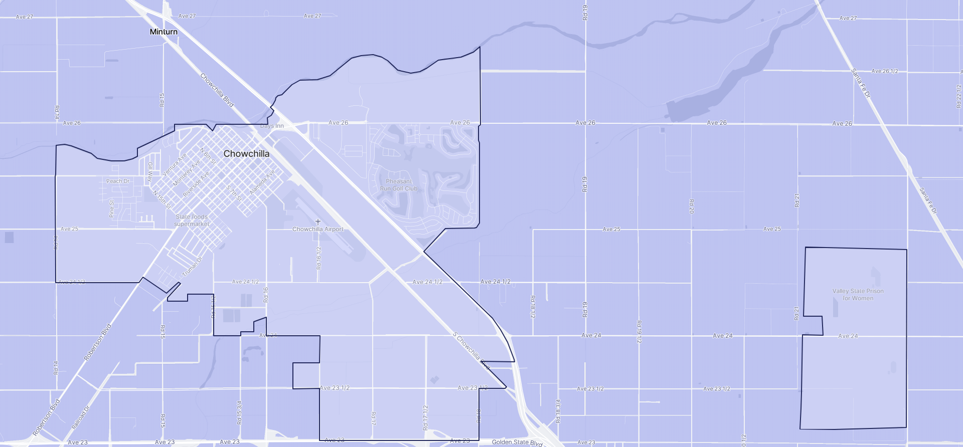Image of Chowchilla boundaries on a map.