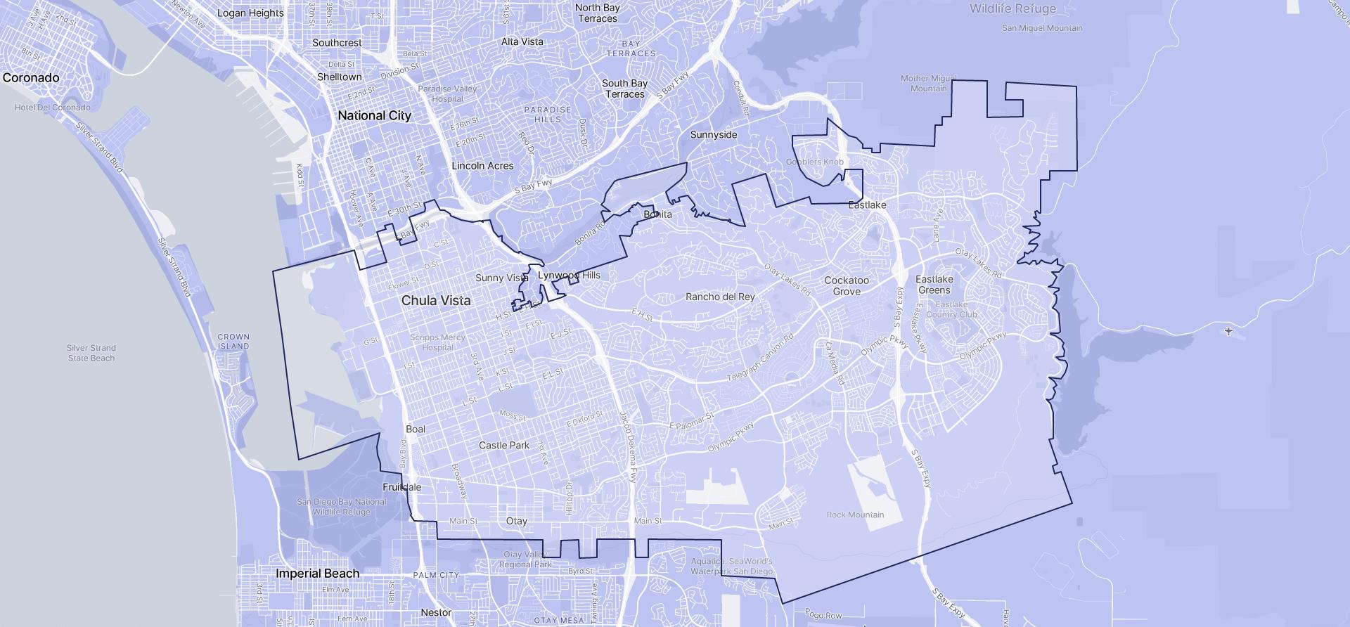 Image of Chula Vista boundaries on a map.