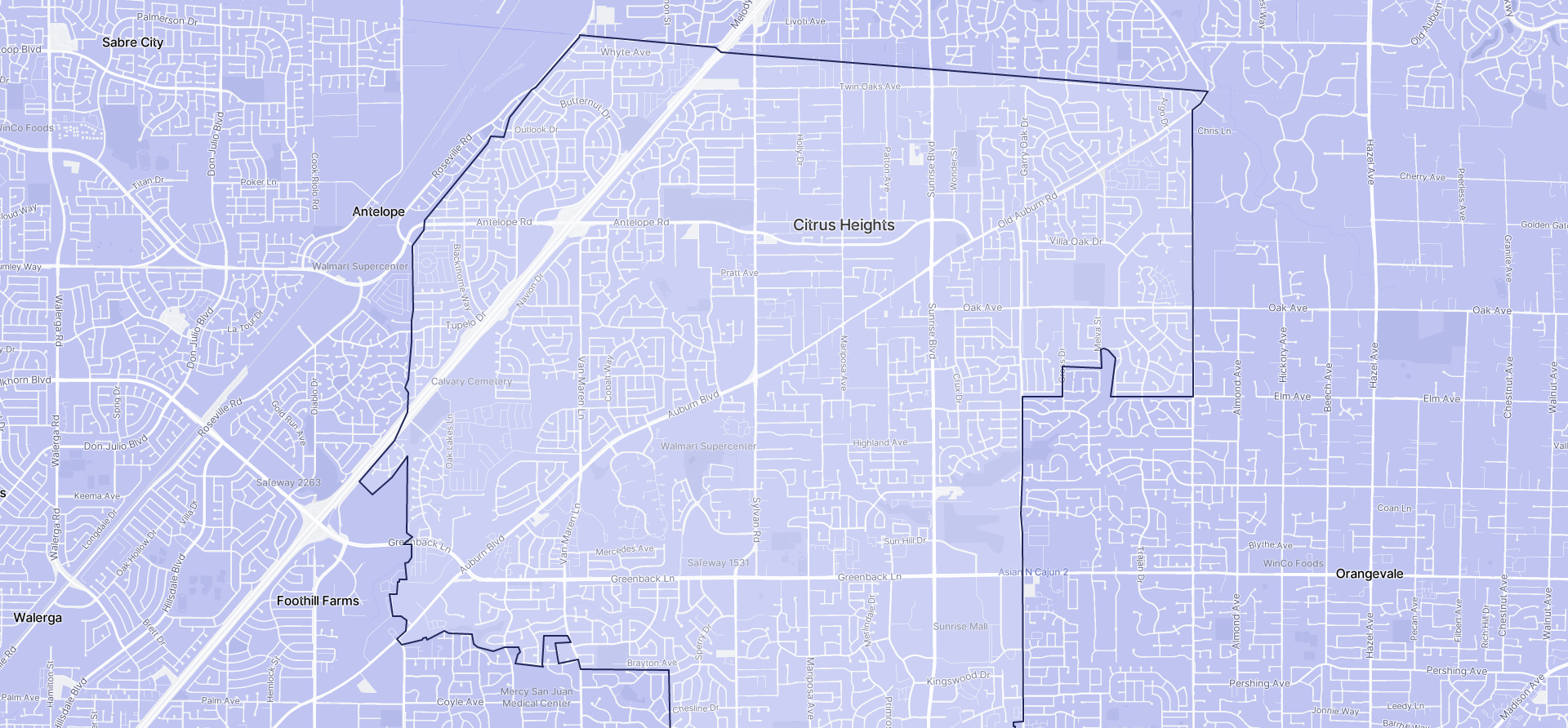 Image of Citrus Heights boundaries on a map.