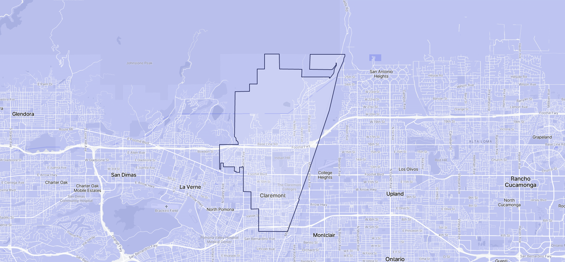 Image of Claremont boundaries on a map.